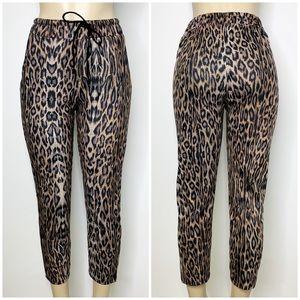 ZARA Leopard Print Cropped Drawstring Pants Sz S